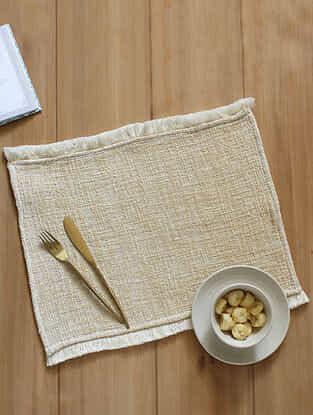 Matsya Vala Beige Handcrafted Cotton Placemat (13in x 19in)
