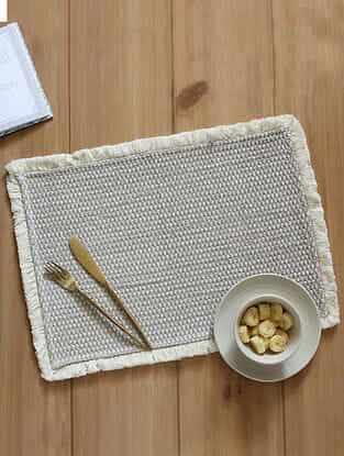 Akasam Grey Handcrafted Cotton Placemat (13in x 19in)