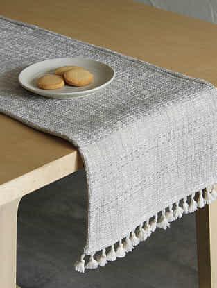 Arabian Sea Grey Handcrafted Cotton Runner (13in x 72in)