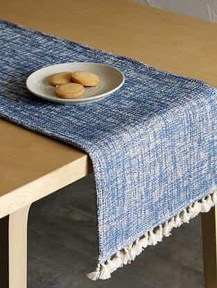 Arabian Sea Blue Handcrafted Cotton Runner (13in x 72in)