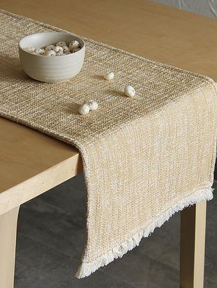 Matsya Vala Beige Handcrafted Cotton Runner (13in x 72in)