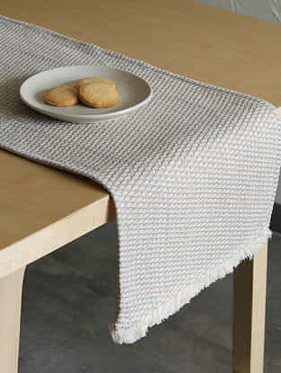 Akasam Grey Handcrafted Cotton Runner (13in x 72in)
