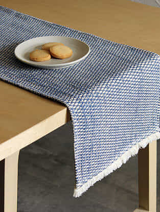 Akasam Blue Handcrafted Cotton Runner (13in x 72in)