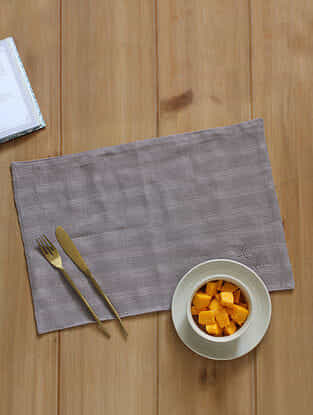 Spice Garden Grey Handcrafted Cotton Placemat (12in x 19in)