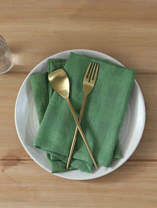 Paccha Green Handcrafted Cotton Napkin (16in x 16in)