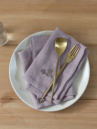 Spice Garden Grey Handcrafted Cotton Napkin (16in x 16in)