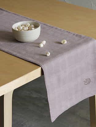 Spice Garden Grey Handcrafted Cotton Runner (72in x 12in)