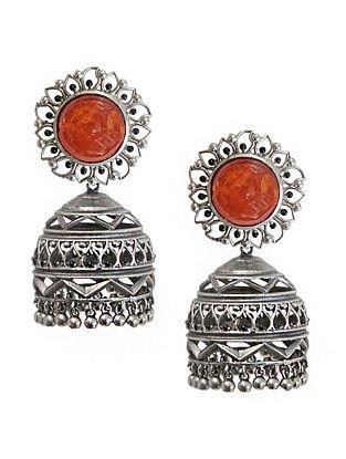 Orange Silver Tone Enameled Carnelian Brass Jhumkis