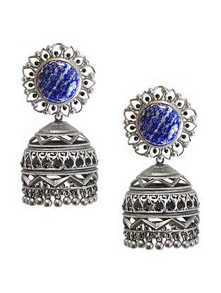 Blue Silver Tone Enameled Lapis Brass Jhumkis