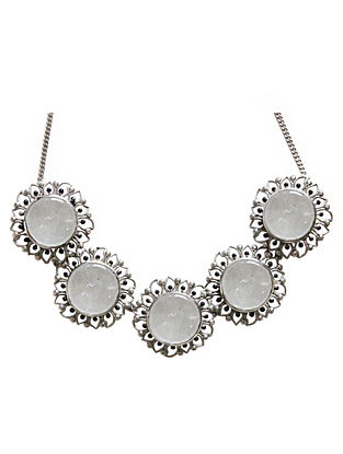White Silver Tone Enameled Crystal Quartz Brass Choker Necklace