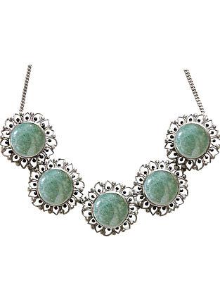 Green Silver Tone Enameled Aventurine Brass Choker Necklace