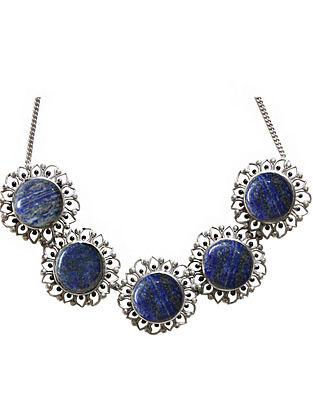 Blue Silver Tone Enameled Lapis Lazuli Brass Choker Necklace