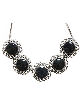 Black Silver Tone Enameled Onyx Brass Choker Necklace