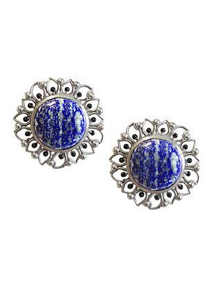 Blue Silver Tone Enameled Lapis Brass Stud Earrings