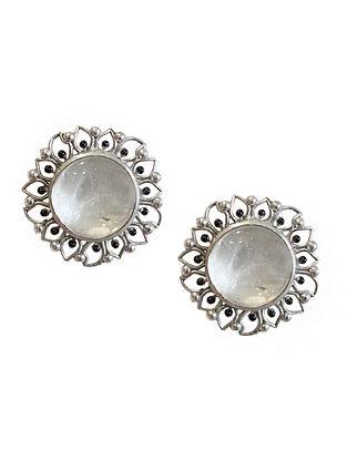 White Silver Tone Enameled Crystal Quartz Brass Stud Earrings