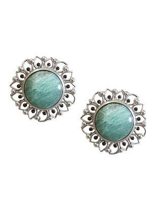 Green Silver Tone Enameled Aventurine Brass Stud Earrings