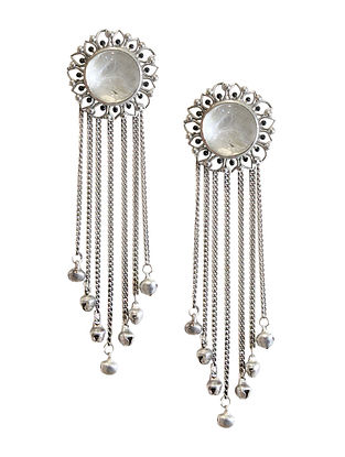 White Silver Tone Enameled Crystal Quartz Brass Stud Earrings with Ghungroo