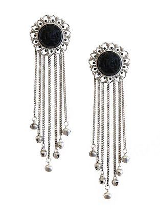 Black Silver Tone Enameled Onyx Brass Stud Earrings with Ghungroo