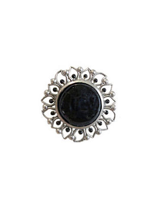 Black Silver Tone Enameled Onyx Brass Ring