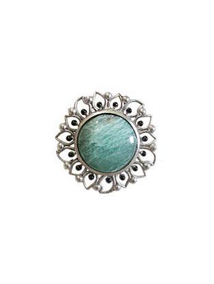 Green Silver Tone Enameled Aventurine Brass Ring