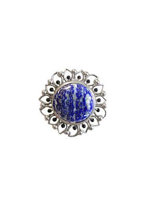 Blue Silver Tone Enameled Lapis Lazuli Brass Ring