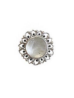 White Silver Tone Enameled Crystal Quartz Brass Ring