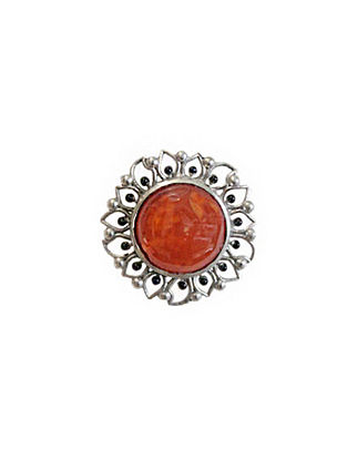 Orange Silver Tone Enameled Carnelian Brass Ring