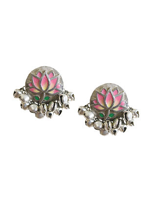 Pink Silver Tone Brass Stud Earrings With Ghunghroo