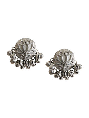 Silver Tone Brass Stud Earrings With Ghunghroo