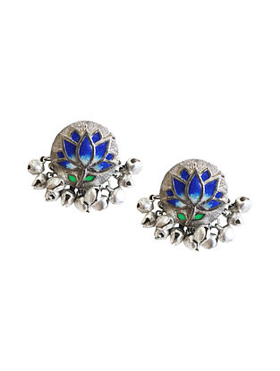 Blue Silver Tone Brass Stud Earrings With Ghunghroo