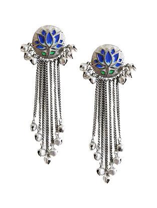 Blue Silver Tone Brass Tassel Earrings