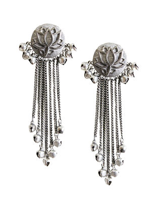 Silver Tone Brass Tassel Earrings
