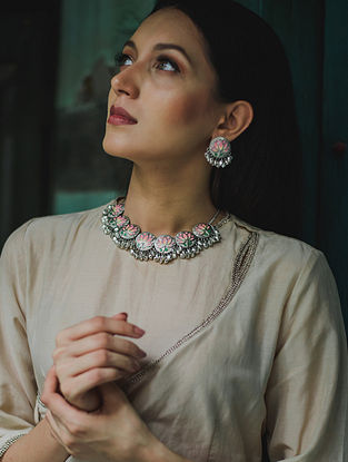 Pink Silver Tone Brass Necklace With Ghunghroo