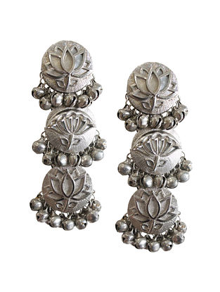 Silver Tone Brass Earrings With Ghungroo