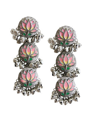 Pink Silver Tone Brass Earrings With Ghungroo
