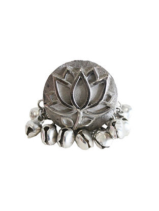 Silver Tone Brass Ring With Ghunghroo