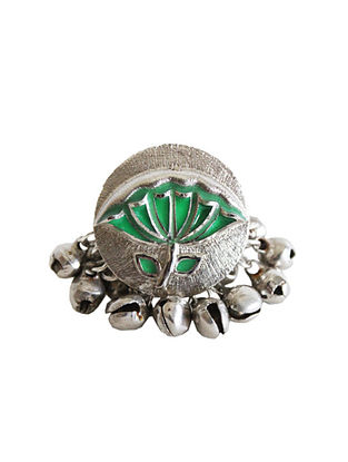 Green Silver Tone Brass Ring With Ghunghroo