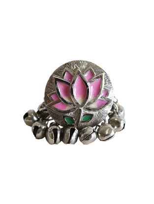 Pink Silver Tone Brass Ring With Ghunghroo