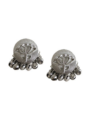 Silver Tone Brass Earrings With Ghunghroo