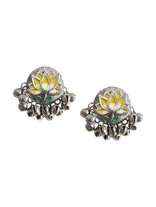 Yellow Silver Tone Brass Earrings With Ghunghroo