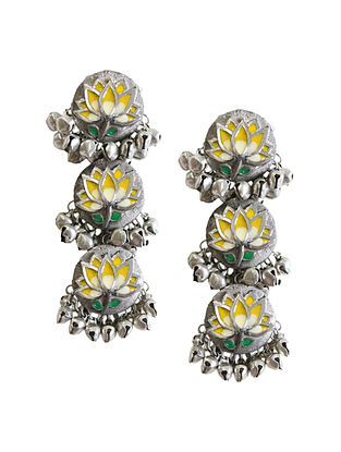 Yellow Silver Tone Brass Earrings With Ghungroo