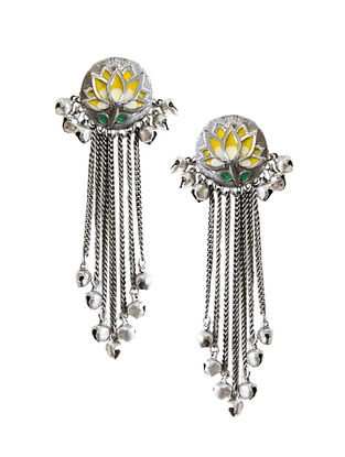 Yellow Silver Tone Brass Tassel Earrings With Ghungroo