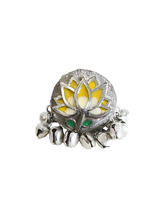 Yellow Silver Tone Brass Ring With Ghunghroo