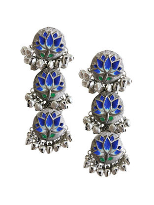Blue Silver Tone Brass Earrings With Ghungroo