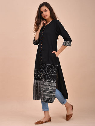 Black Ivory Ikat Cotton Kurta with Kantha Embroidery and Sequins