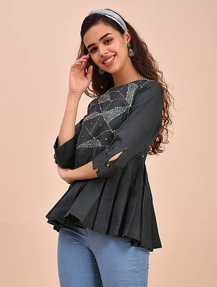 Black Ivory Cotton Top with Kantha Embroidery and Sequins