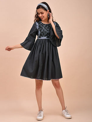 Black Ivory Embroidered Cotton Dress with Ikat Detailings