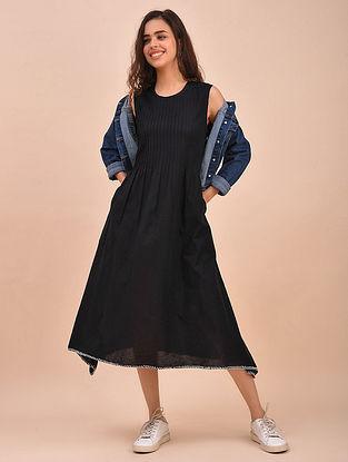 Black Pintucks Cotton Dress