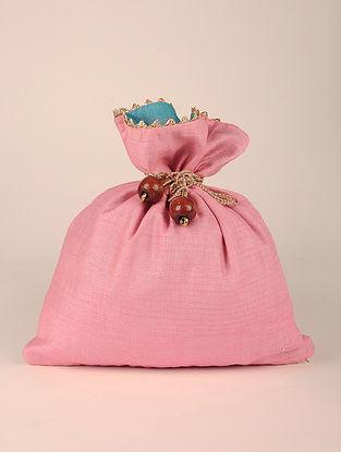Baby Pink Handcrafted Tussar Silk Potli