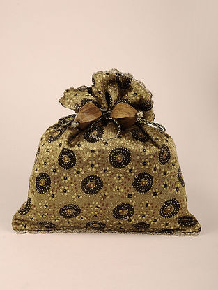 Olive Handcrafted Ajrak Block Print Potli